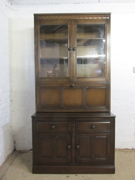 Ercol Mural Dark Elm Finish Part Glazed Wall, Display Or Drinks Cabinet