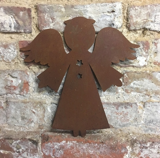 Rusty Angel Sign Metal Shop Home Christmas Decoration Ornament Winter Snow Free Delivery