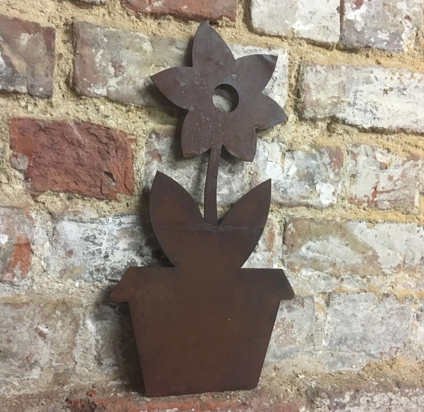 Rusty Metal Plant Flower Pot Silhouette Sign Shop Home Bar Pub Cafe Garden Free Delivery
