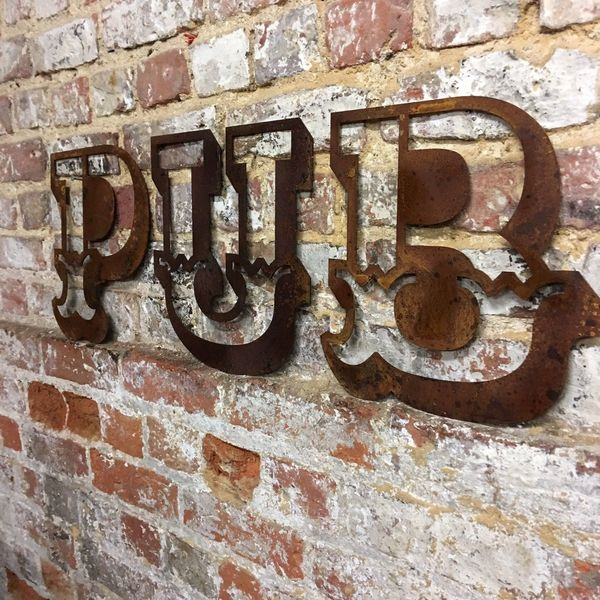 Rustic Pub Letters Sign Rusted Metal Word Vintage Home Shop Bar Industrial 2