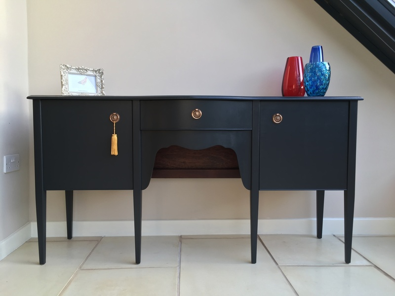 Vintage Mahogany Georgian Style Painted Off Black Sideboard / Buffet / Cabinet / Low Boy