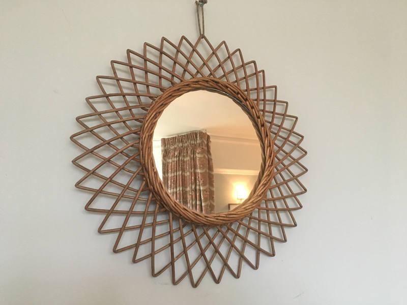 Vintage French Mid Century Rattan/Bamboo Sunburst Mirror