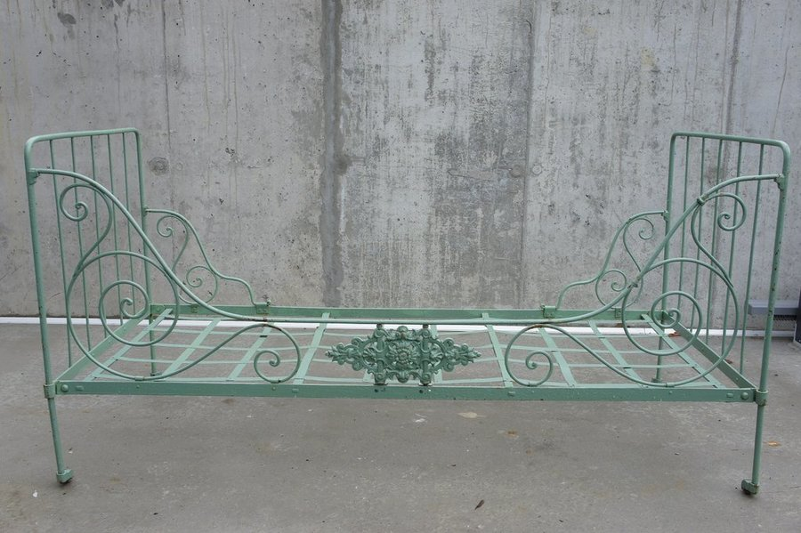 Sage Green Folding Wrought Iron Daybed