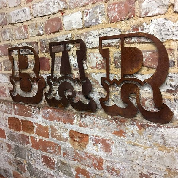 Bar Letters Sign Rusted Metal Word Vintage