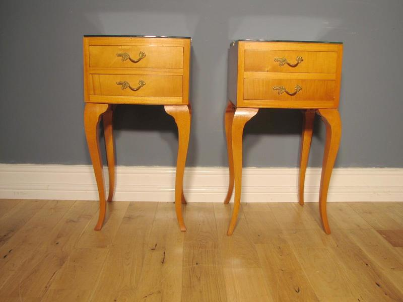 Pair Of Cherrywood Finish Louis Style Side Tables Bedside Tables C.1950