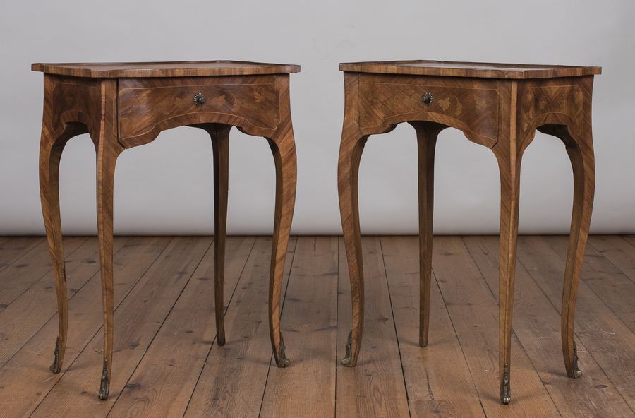 Pair Of Pretty French Marquetry Bedside/ Lamp Tables