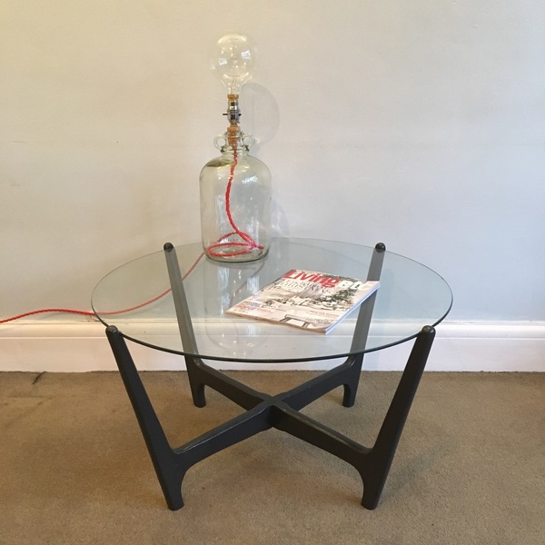 Upcycled Retro Coffee Table Hand Painted Graphite Matte Black Dark Grey Circular Round Glass Wooden Mid Century Vintage Table