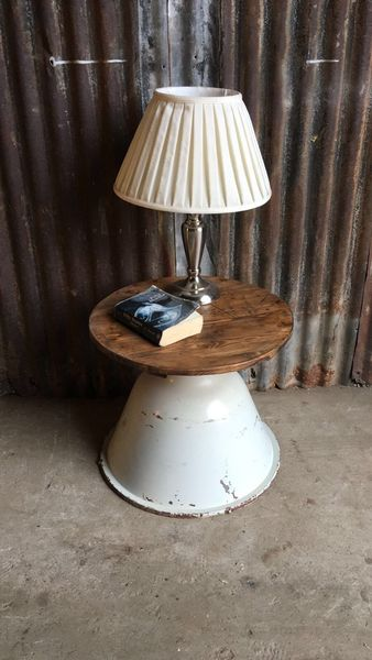 Vintage Reclaimed Wooden Upcycled Side End Table Rustic Industrial Coffee (D)