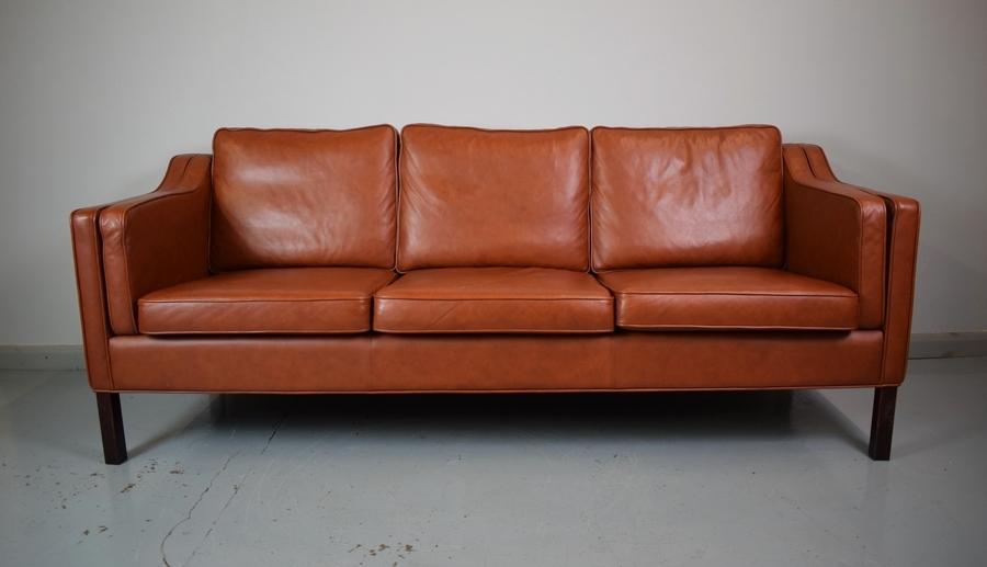 Mid Century Modern Danish Brown Leather Mogensen Style 3 Seat Sofa Settee Couch