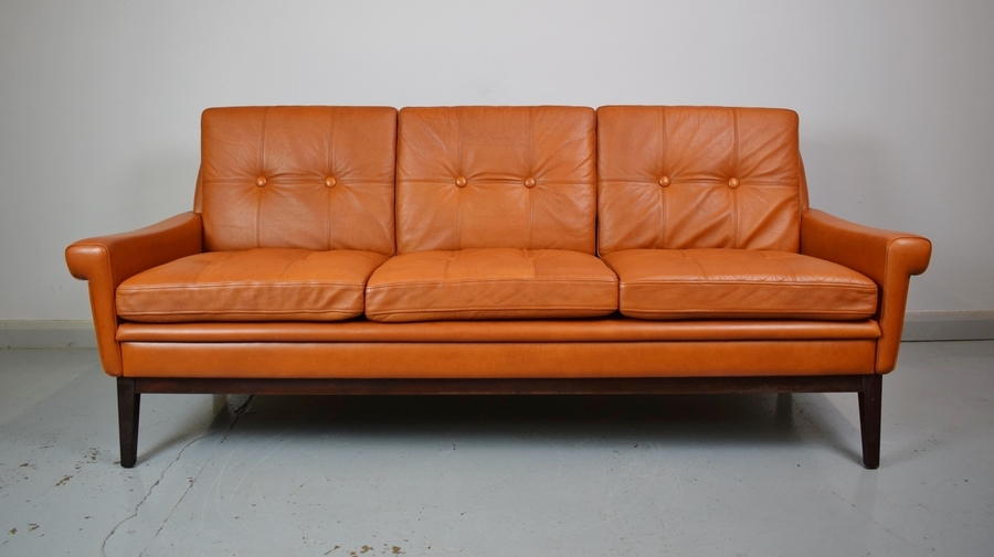 Mid Century Retro Danish Skippers Mobler Tan Leather 3 Seat Sofa Settee Couch