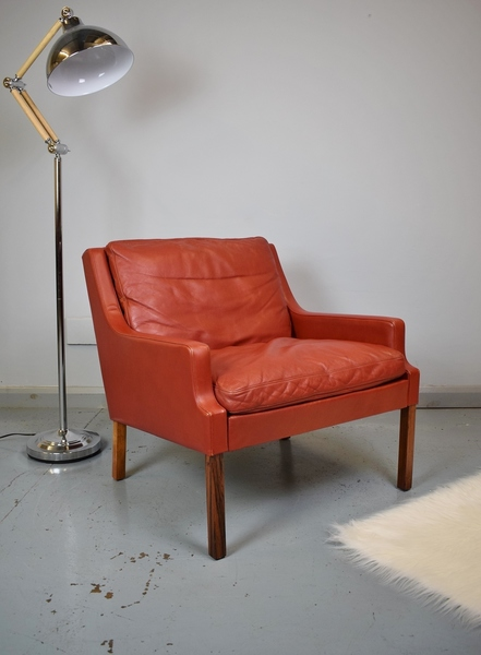 Mid Century Danish Georg Thams 'Vp 66' Red Leather & Rosewood Lounge Arm Chair