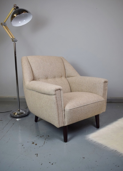 Mid Century Retro Danish Kurt Ostervig Model 61 Oatmeal Wool Lounge Armchair 60s