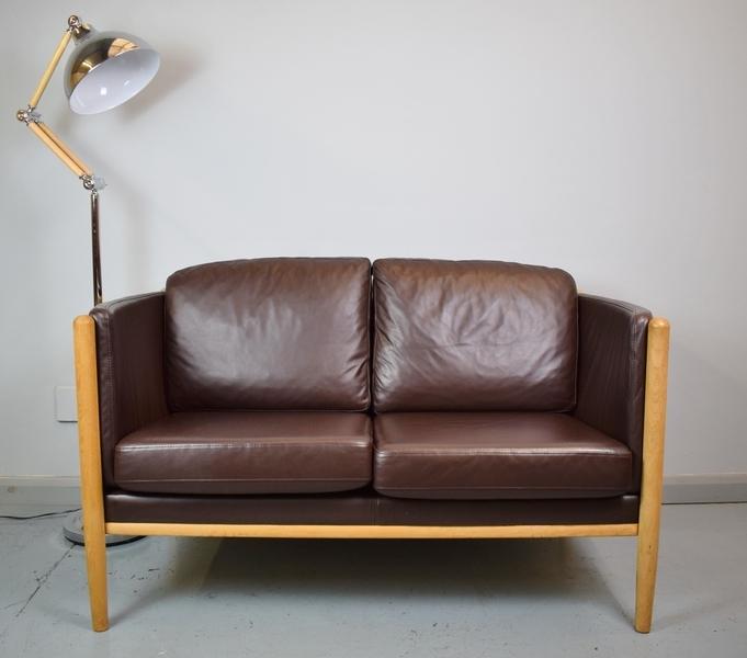 Mid Century Retro Danish 2 Seater Dark Brown Leather Settee Sofa Loveseat 1980s