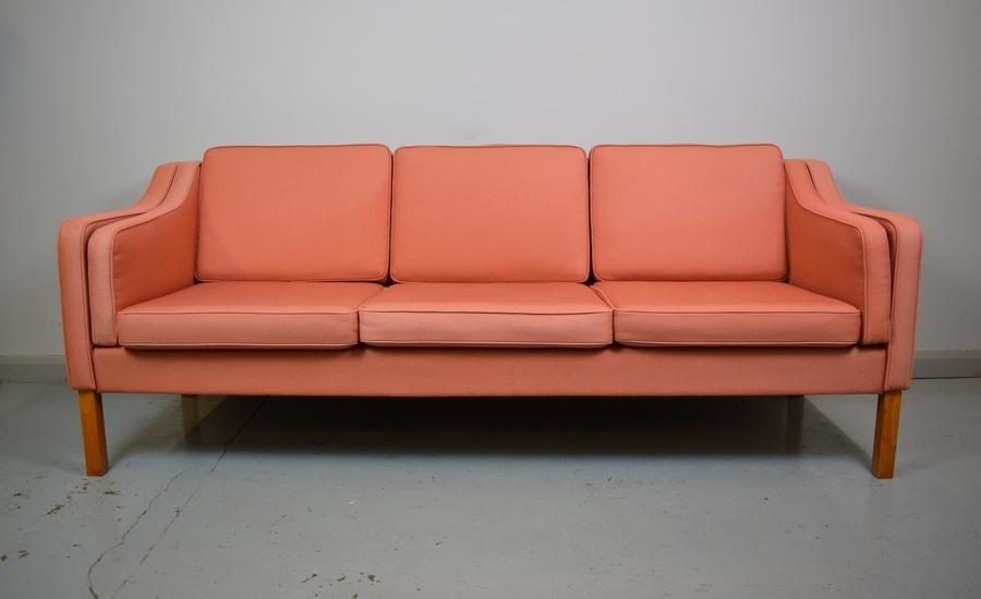 Mid Century Retro Danish Mogensen Style Salmon Pink Wool 3 Seat Sofa Settee 70s