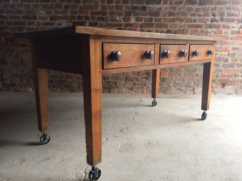 Antique Dining Table Solid Oak Victorian 19th Century Kitchen Rustic