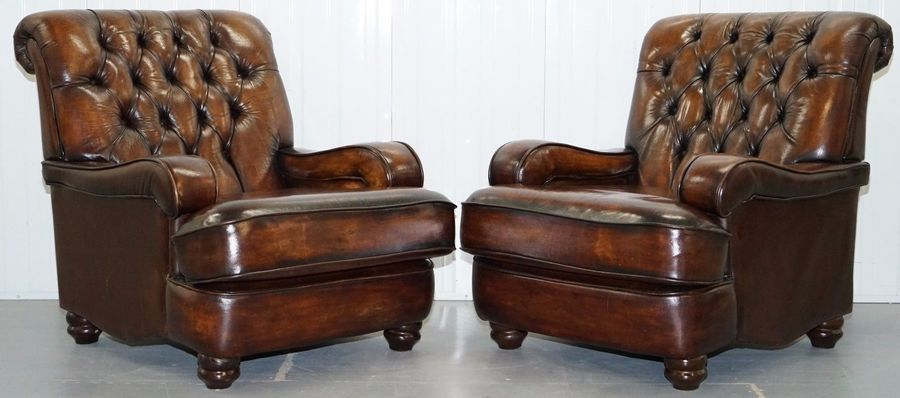 Restored Pair Chesterfield Hand Dyed Cigar Brown Leather Scroll Back Armchairs     Restored Pair Chesterfield Hand Dyed