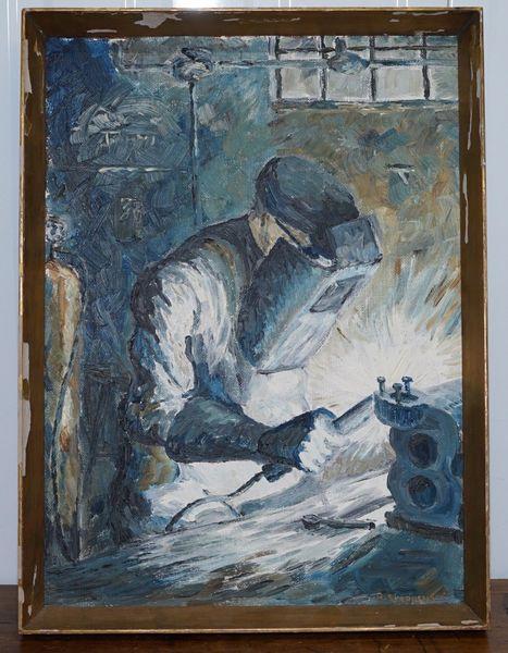 Original H Stephens Signed & Dated 1964 Oil On Board Painting Industrial Welder