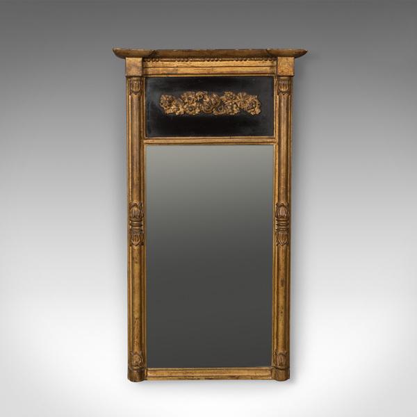 Regency Antique Pier Mirror In Giltwood & Gesso, Early 19th Century C.1820