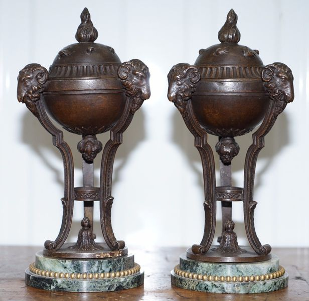 Stunning Pair Of Rare Antique Rams Head Bronze Urns With Marble Bases Grand Tour