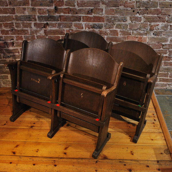 Two Pairs Of Wooden Cinema Seats