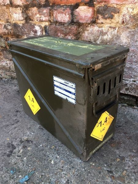 Vintage Ammo Military Army Metal Suitcase Trunk