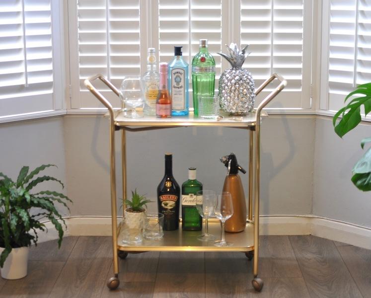 Vintage Woodmet 1960s 2 Tier Gold Drinks Cart