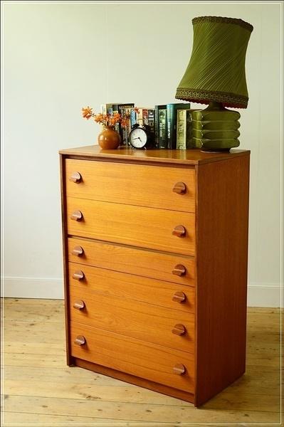 Vintage Chest Of Drawers Teak Stag, Tallboy, Danish Design