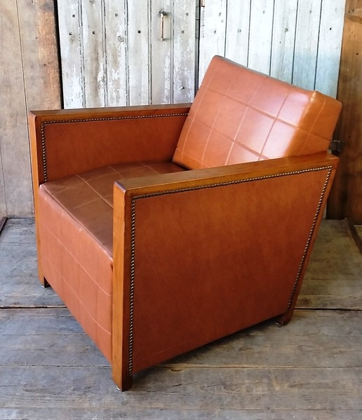 Vintage French Faux Leather Chairs   Pair