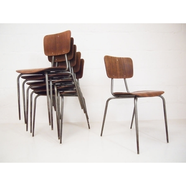 Vintage Danish Stacking Chairs By Neils Larsen