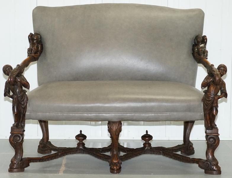 Rare Andrea Brustolon Finely Carved Venetian Baroque Walnut Settee Sofa Bench
