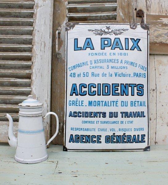 French Vintage Enamel Industrial Sign