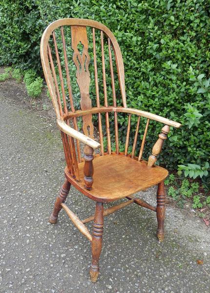 Antique Hooped Back Windsor Armchair English Elm Ash C 19th Century