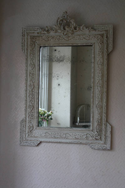Beautiful Large White Crested Vintage French Louis Philippe Mirror