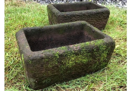 Set English Sandstone Small Fine Beautiful Primitive Aged Weathered Garden Ornament Troughs