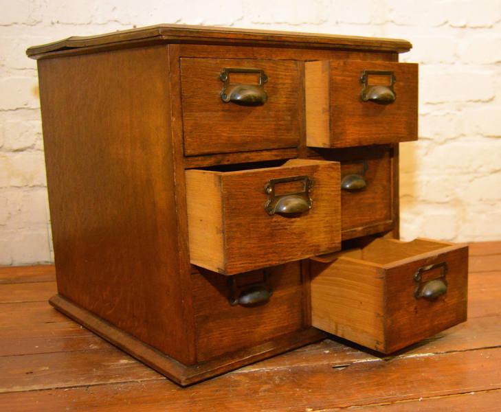 1920s Oak Six Draw Cabinet