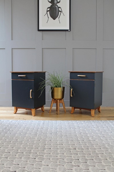 Set Of 2 Mid Century Bedside Tables