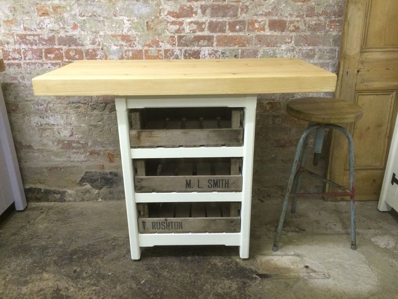 Wooden Solid Pine Freestanding Kitchen Island Breakfast Bar Table Unit