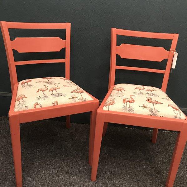 Upcycled Flamingo Chairs   Pinky & Perky