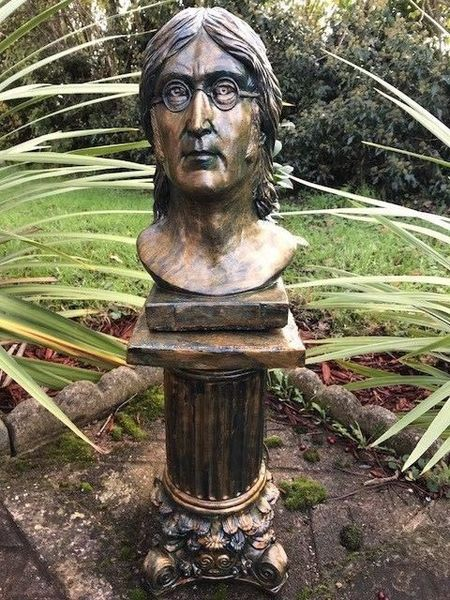 Small Bronze Verdigris Style Stone John Lennon Bust On Plinth Statue