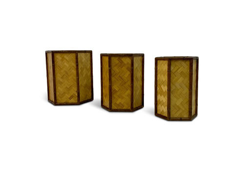 1970s Set Of Three Graduated Rattan And Bamboo Planters Or Baskets