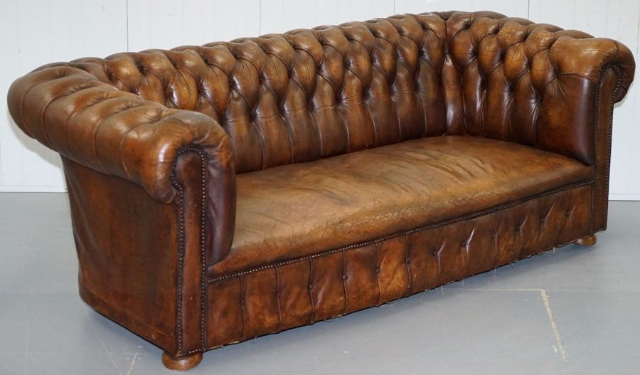 Distressed 1960's Vintage Hand Dyed Chesterfield Club Sofa Lovely Old Worn Feel