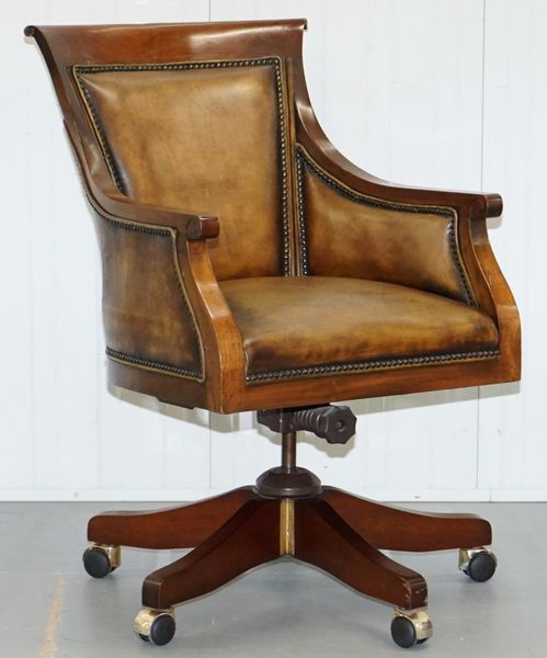 Stunning Sculptural Hand Dyed Aged Brown Leather Office Captains Directors Chair