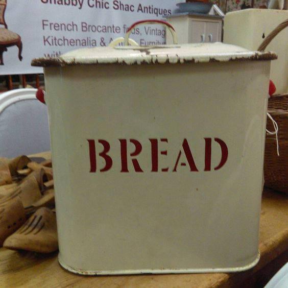 Vintage Large Enamel Metal Bread Bin