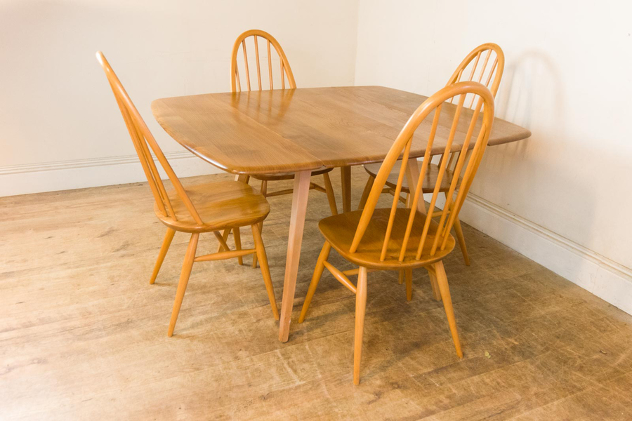 Vintage Retro Ercol Light Elm 'Square' Drop Leaf Table And 4 Quaker Chairs