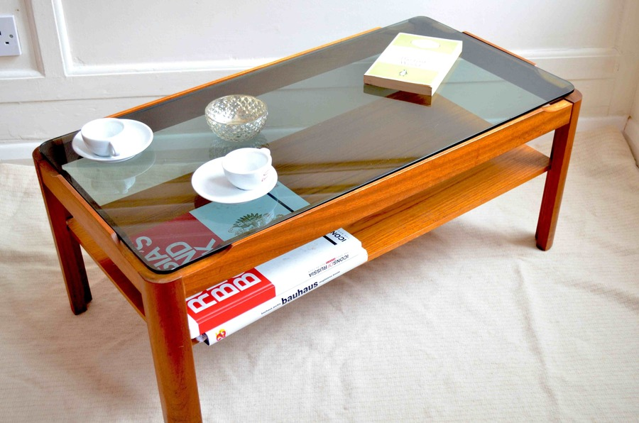 Vintage Two Tier Teak And Smoked Glass Coffee Table. Delivery. Danish / Mid Century Style.