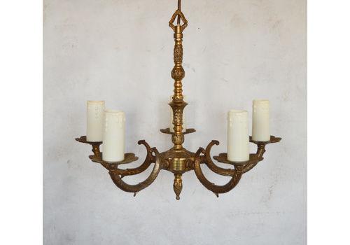 Vintage Ornate 30s Spanish 6 Arm Solid Brass Chandelier Lots