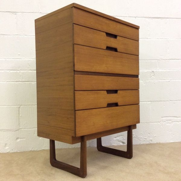 1960s Gunther Hoffstead For Uniflex Teak Tallboy Chest Of Drawers