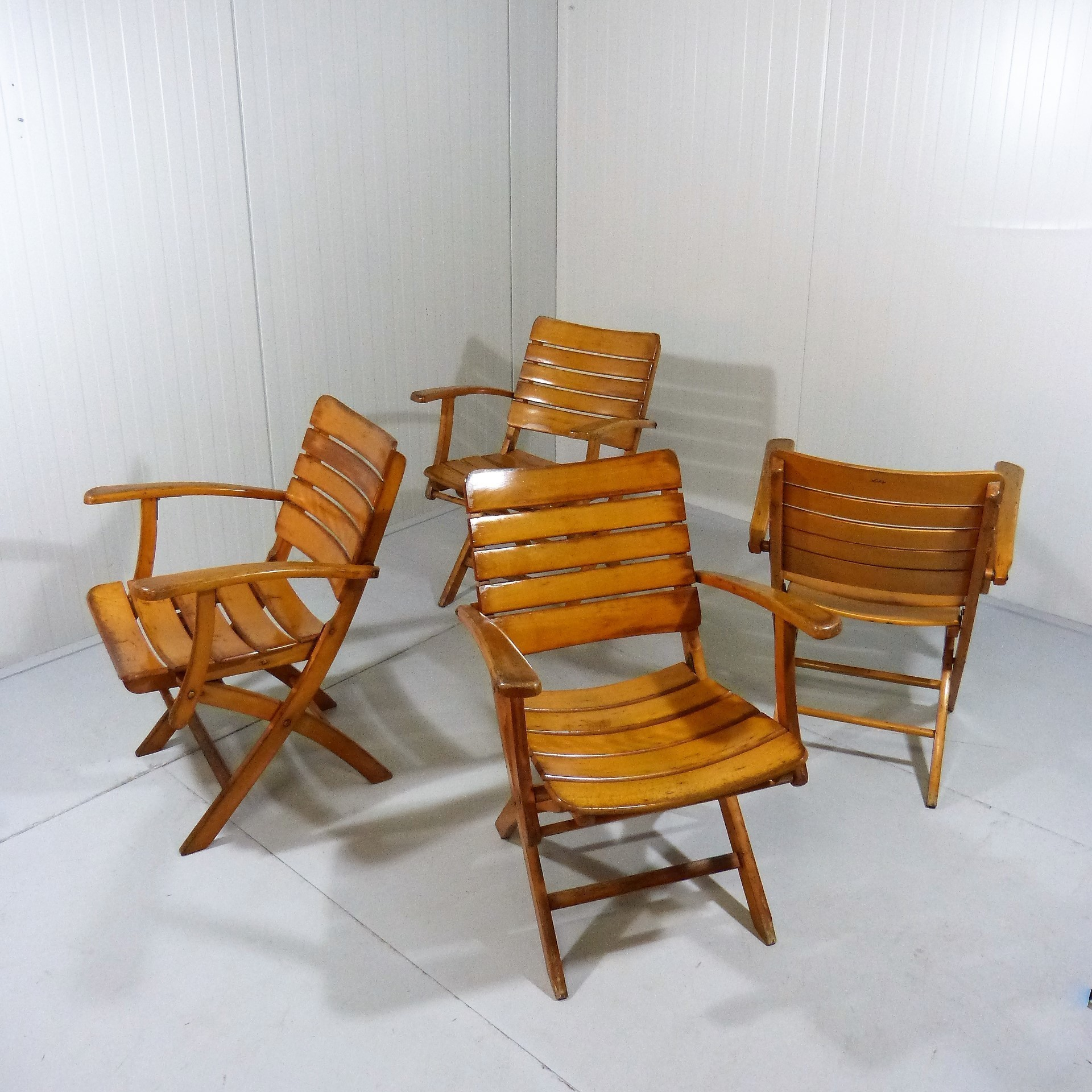 Set Of 4 Wooden Folding Garden Chairs By Herlag 1960 S Herlag Vinterior