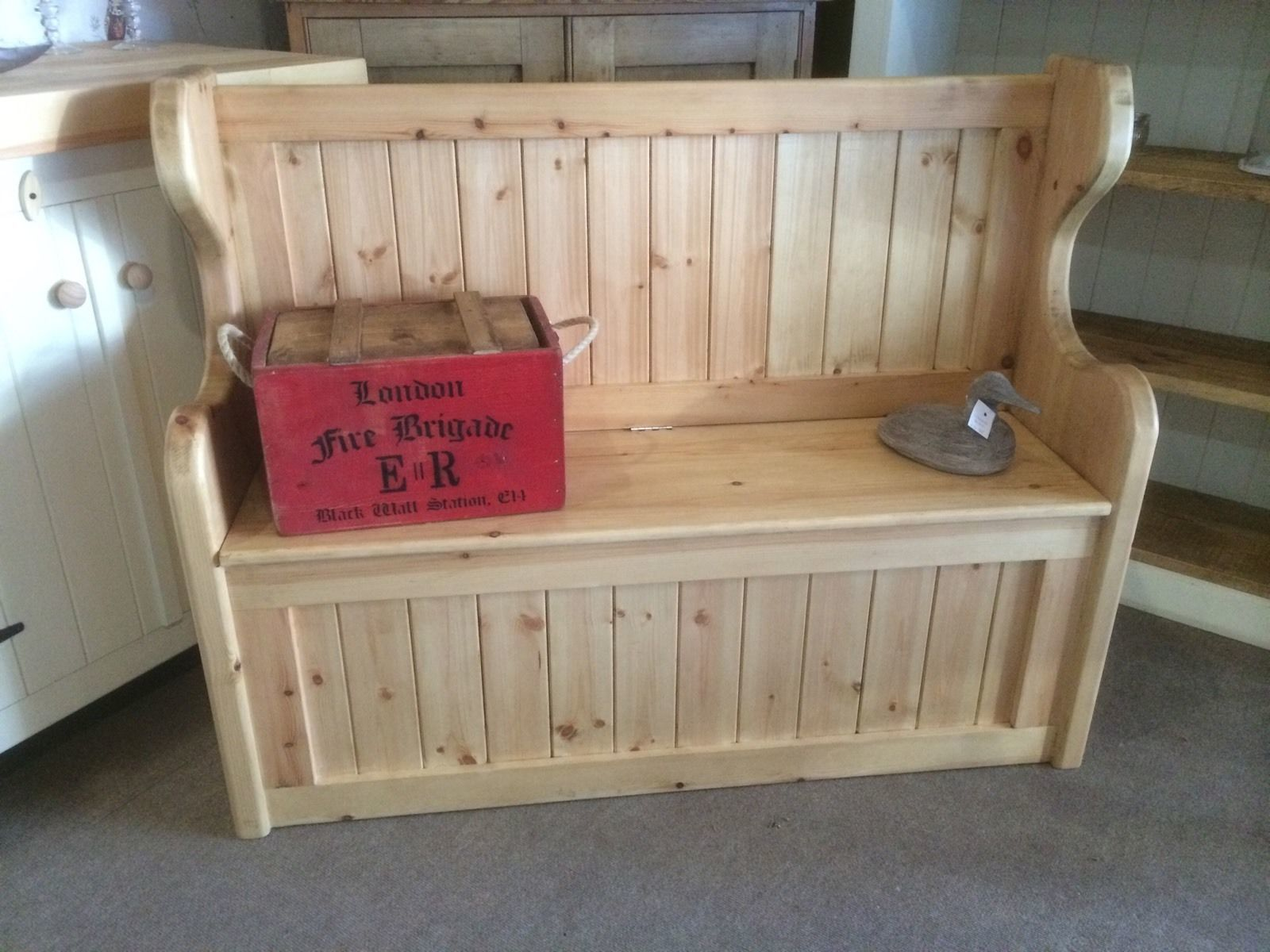 Pleasant Solid Rustic Pine Handmade Monks Pew Settle Storage Bench Window Hallway Seat Caraccident5 Cool Chair Designs And Ideas Caraccident5Info