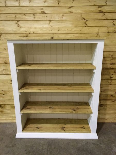 Solid 4ft Rustic Pine Handmade Large Bookcase Shelving Unit Shabby Chic
